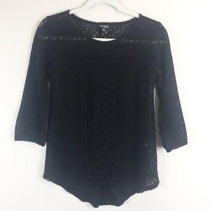 Lucky Brand Knit Lace Crochet Top